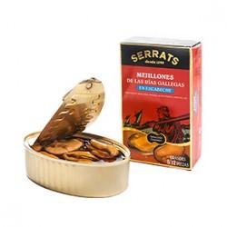Mejillones escabeche Extra (Lata 120 grs) (8/12 piezas) Serrats
